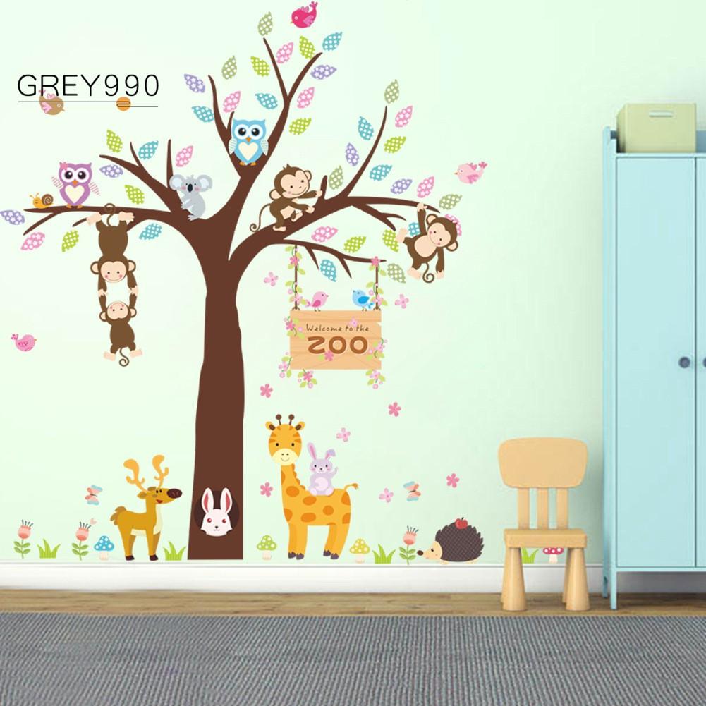 Stiker Dinding Dengan Bahan Mudah Dilepas Gambar Pohon Dan Binatang Untuk Dekorasi Rumah