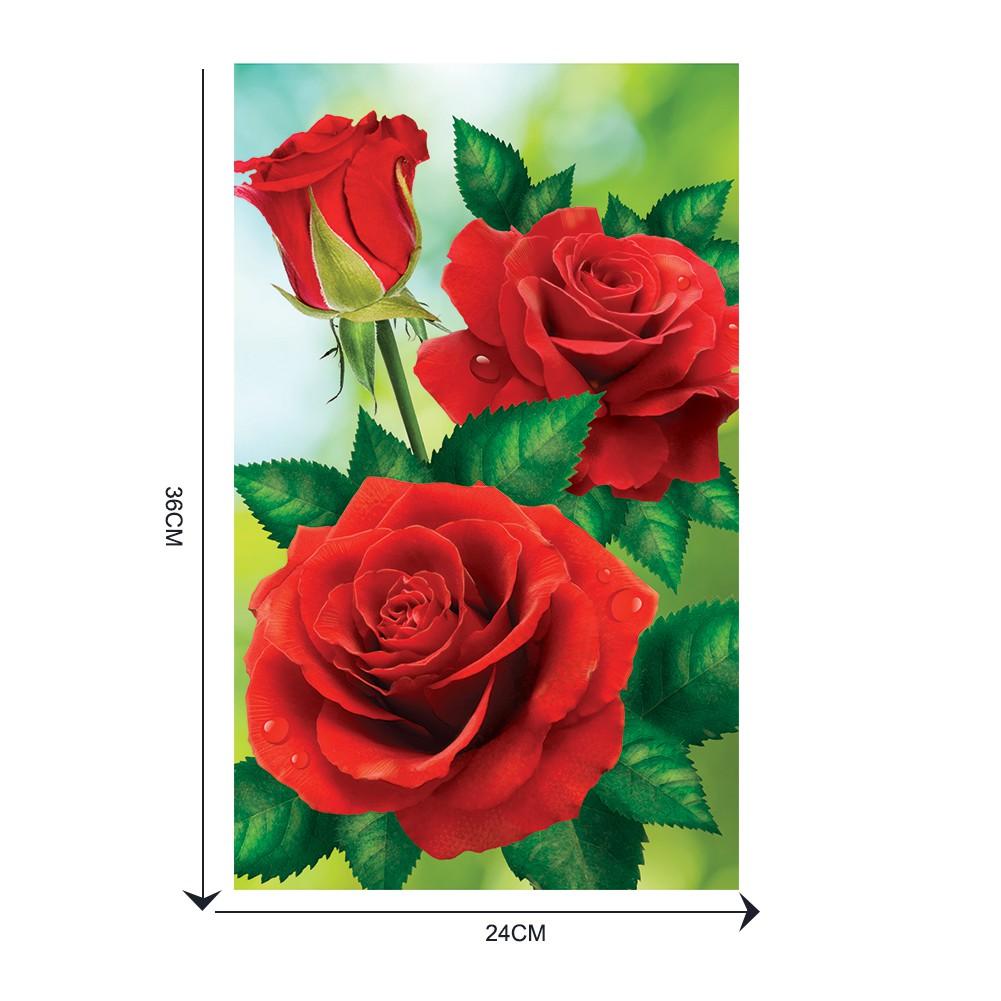 DIY Lukisan Diamond 5D Dengan Gambar Bunga Mawar Merah Untuk Hiasan Dekorasi Rumah