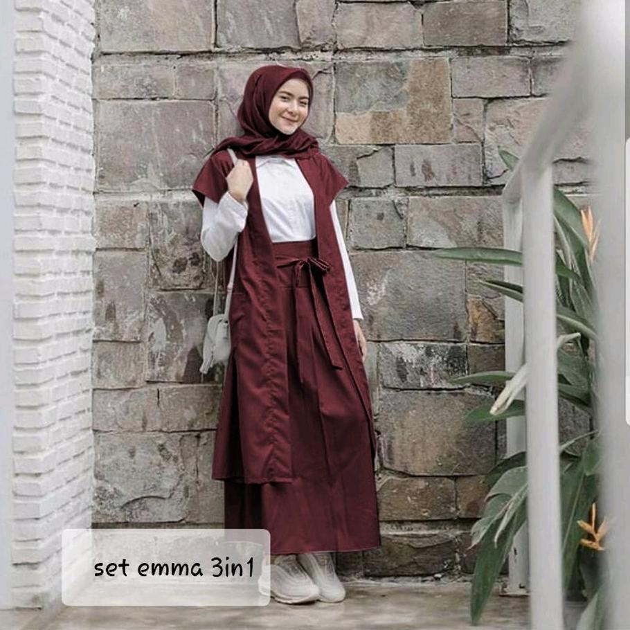 ✿DISKONPRICE✿ H SETELAN EMMA Baju wanita cewe muslim hijab remaja kuliah  kerja kondangan pernikahan