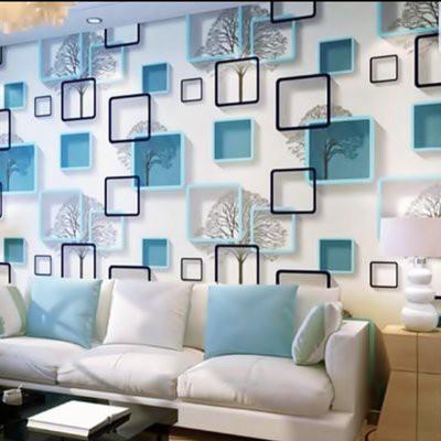 Wallpaper Dinding 3d Pohon Kotak Biru Walpaper Sticker Kamar Ruang Tamu Dapur Rumah Cantik Modern Shopee Indonesia