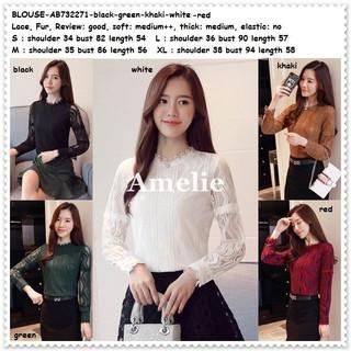 Baju Atasan Blouse Pesta Kerja Brukat Lace Korea Import Red White Black  Putih AB732271 2af8eb48e9