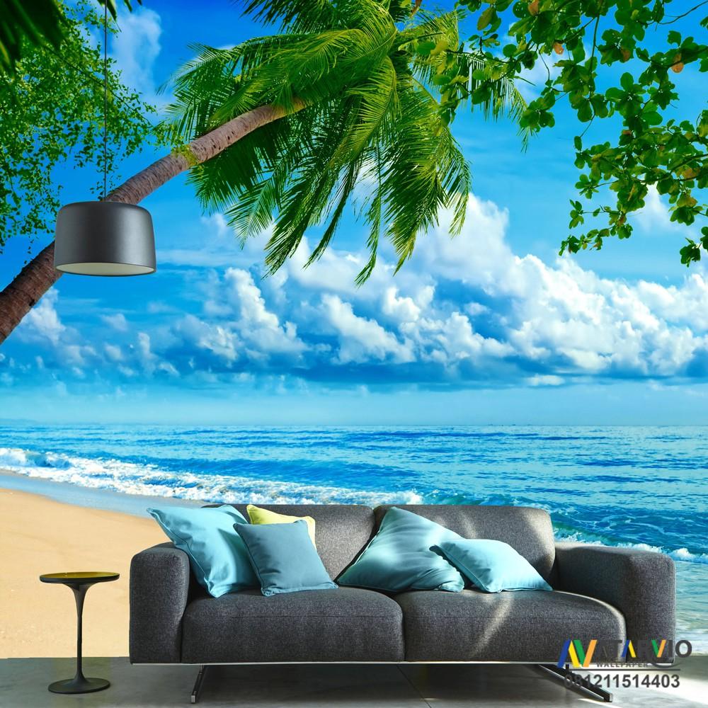 NEW WALLPAPER CUSTOM Wallpaper Custo Printing Tema Pantai 3d