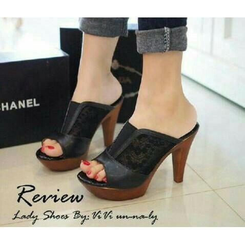 Promo Sepatu Wanita High Heels Hak Tahu Tinggi 5 cm Krem Cream Cantik H110  Sandal Pesta 85a35d3660