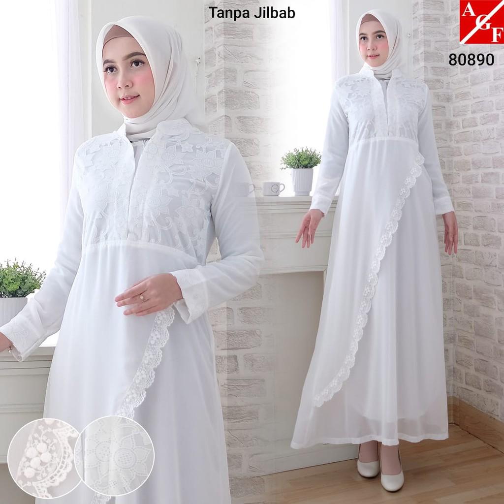 SALE!! Baju Gamis Wanita Brukat   Gamis Putih Lebaran Umroh Haji   Busana  Muslim Wanita  80920 STD  0056105c8a