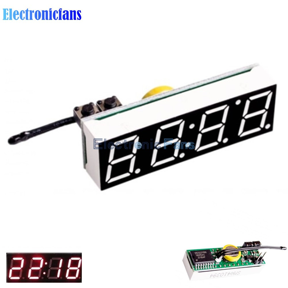 Red 3 in 1 LED DS3231SN Digital Clock Temperature Voltage Module DIY Electronic