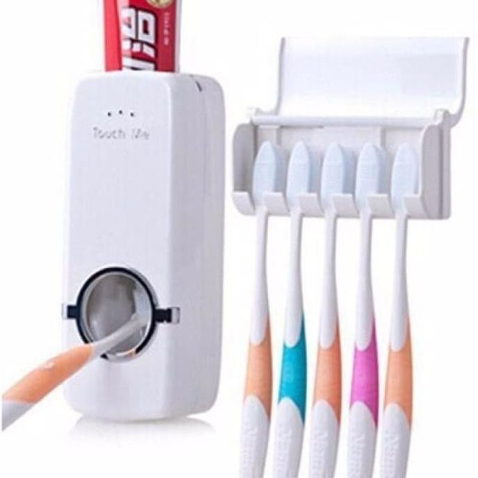 ... Terbaru Dispenser Odol / Pasta Gigi Dan Tempat Gantungan 5 Sikat Gigi - Putih ...
