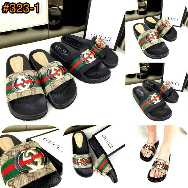 fb61294f69bb 323-1 Arrival GUCCI GG Supreme Slide Casually Sandals SS18