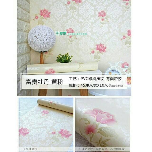6021 2 Wallpaper Sticker Dinding Murah Bunga Cream Shabby Chic