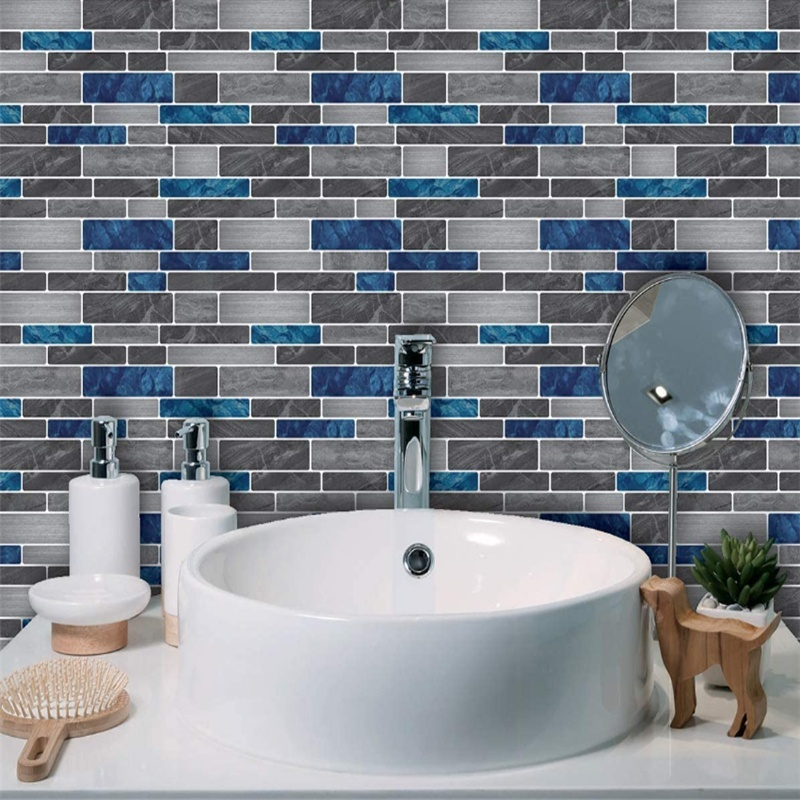3d Marble Wall Sticker Brick Mosaic Kitchen Bathroom Foil Beauty Waterproof Wallpaper Self Adhesive Sticker Tiles For Home Diy Decoration Shopee Indonesia