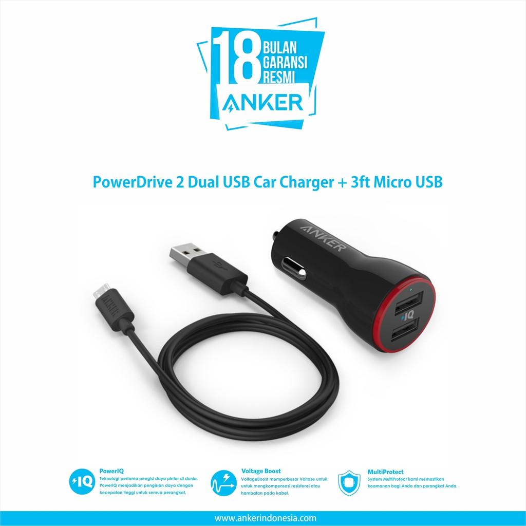 Anker Powerdrive 2 Port Car Charger 24w 3 Ft Micro Usb B2310h11 Aukey Cc S3 Dual Hitam Black Ori Shopee Indonesia