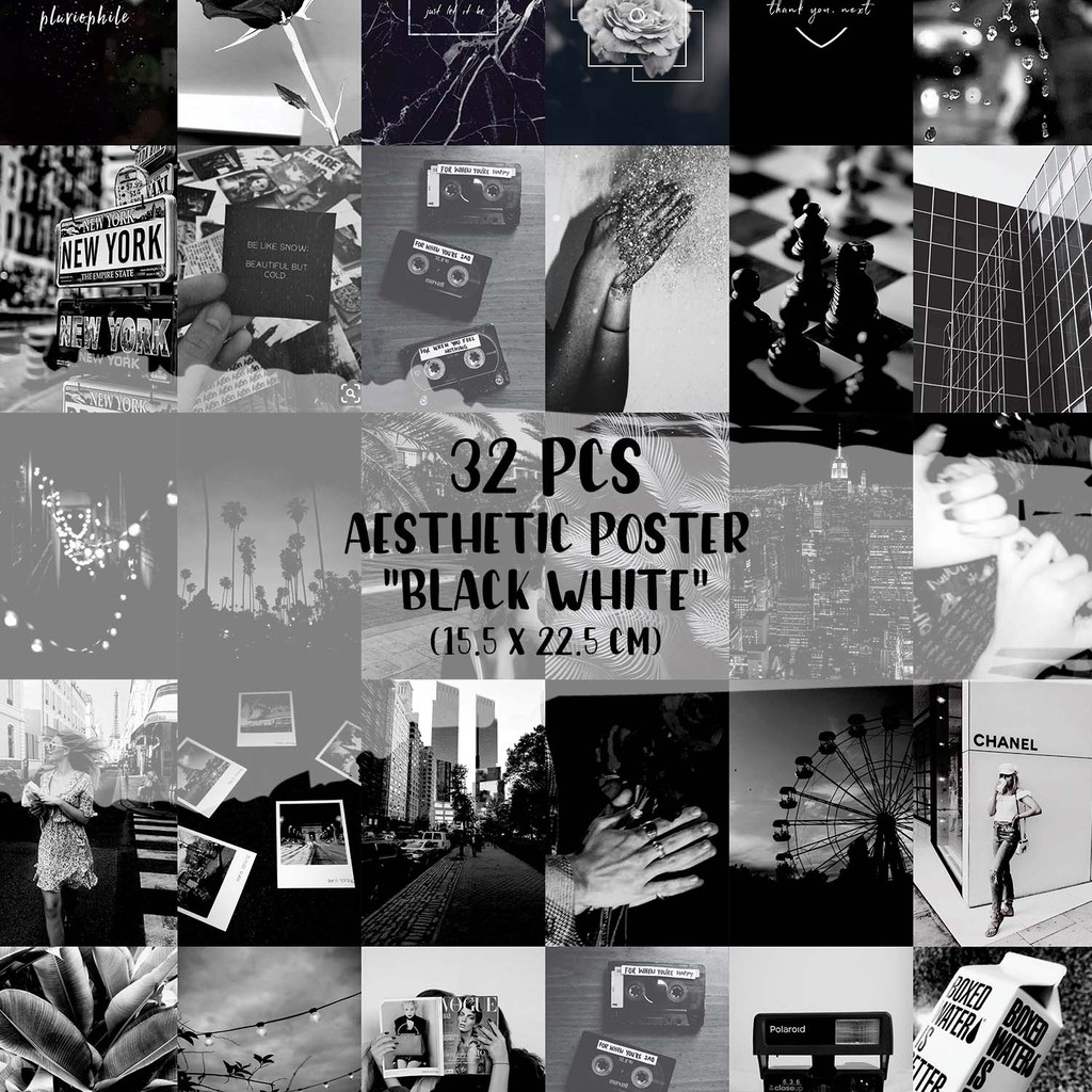 32 Pcs Poster Aesthetic Black And White Version Shopee Indonesia
