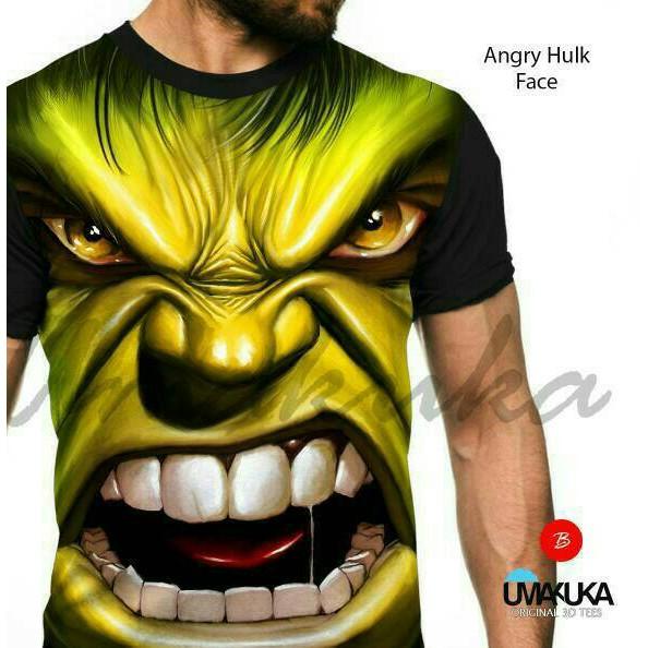 Kaos Keren 3d Angry Hulk Face Baju Murah Shopee Indonesia