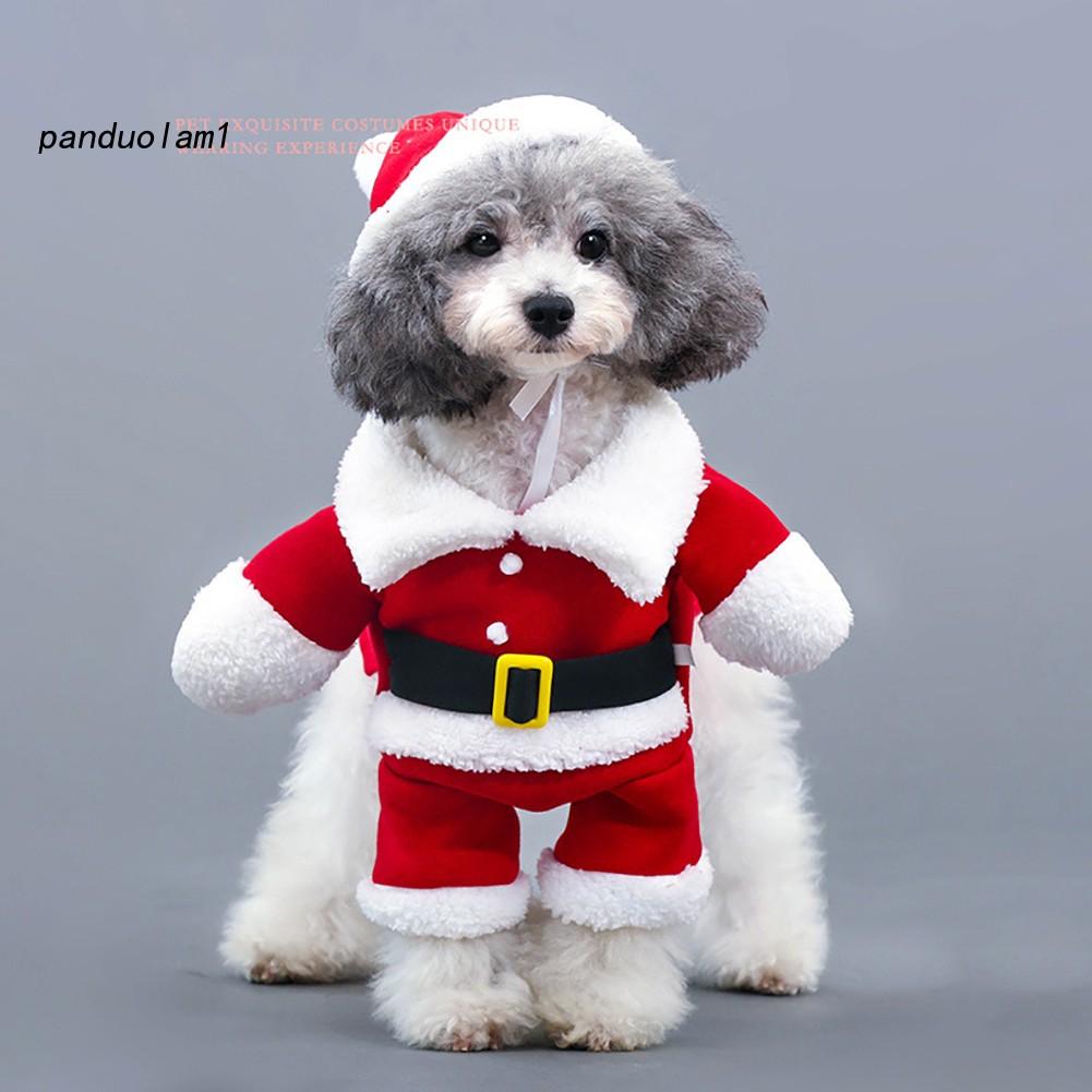 Christmas Dog Costumes.Pdl Christmas Pet Santa Claus Suit Costumes Dog Cat Puppy Jumpsuit Hoodies Clothes