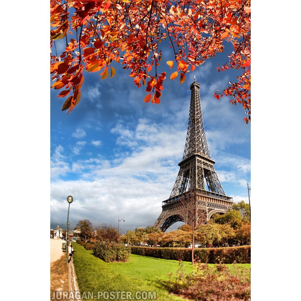 Hiasan Dekorasi Dinding Poster Pemandangan Alam Menara Eiffel 36 60x90cm