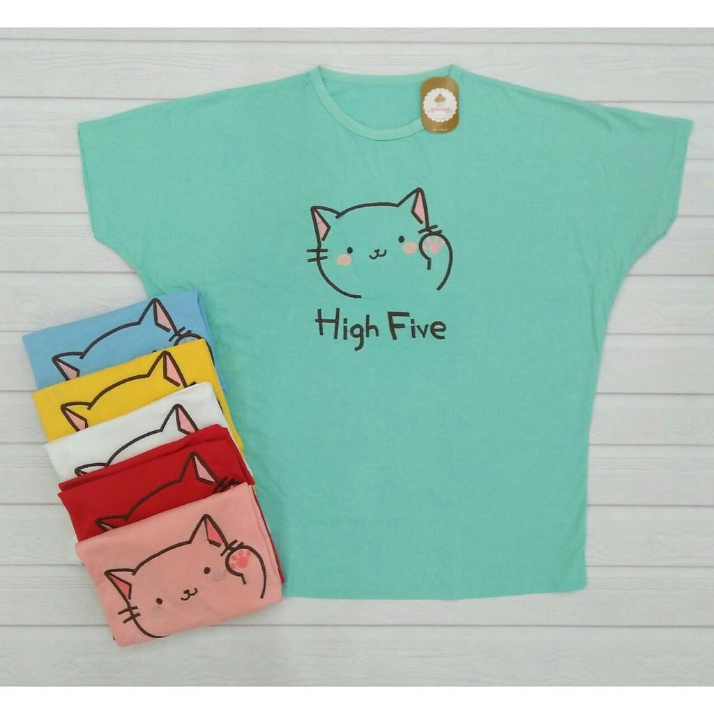Cupcake Kaos Kalong Jumbo High Five Cat Xxxl 0177 Shopee Indonesia