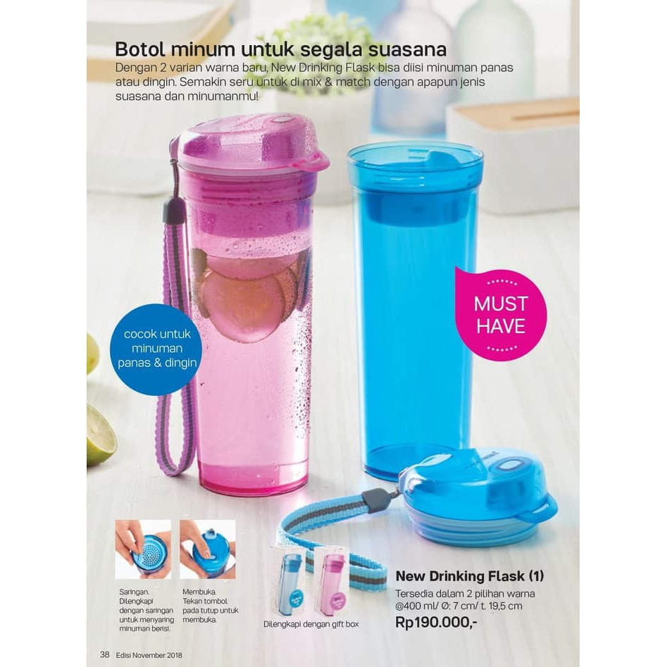 Tupperware New Drinking Flask Tempat Minum Botol Infus Water A   By Alva Store   Shopee Indonesia