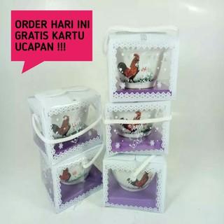souvenir pernikahan Mangkok mini cap ayam jago bowl kemasan mika