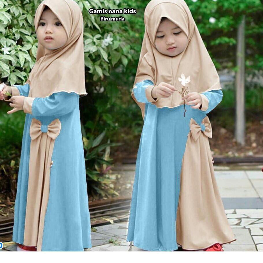 Keluaran Terbaru.. Model Gamis balita terbaru usia 10 thn + HIJAB baju  muslim anak cantik fashion le