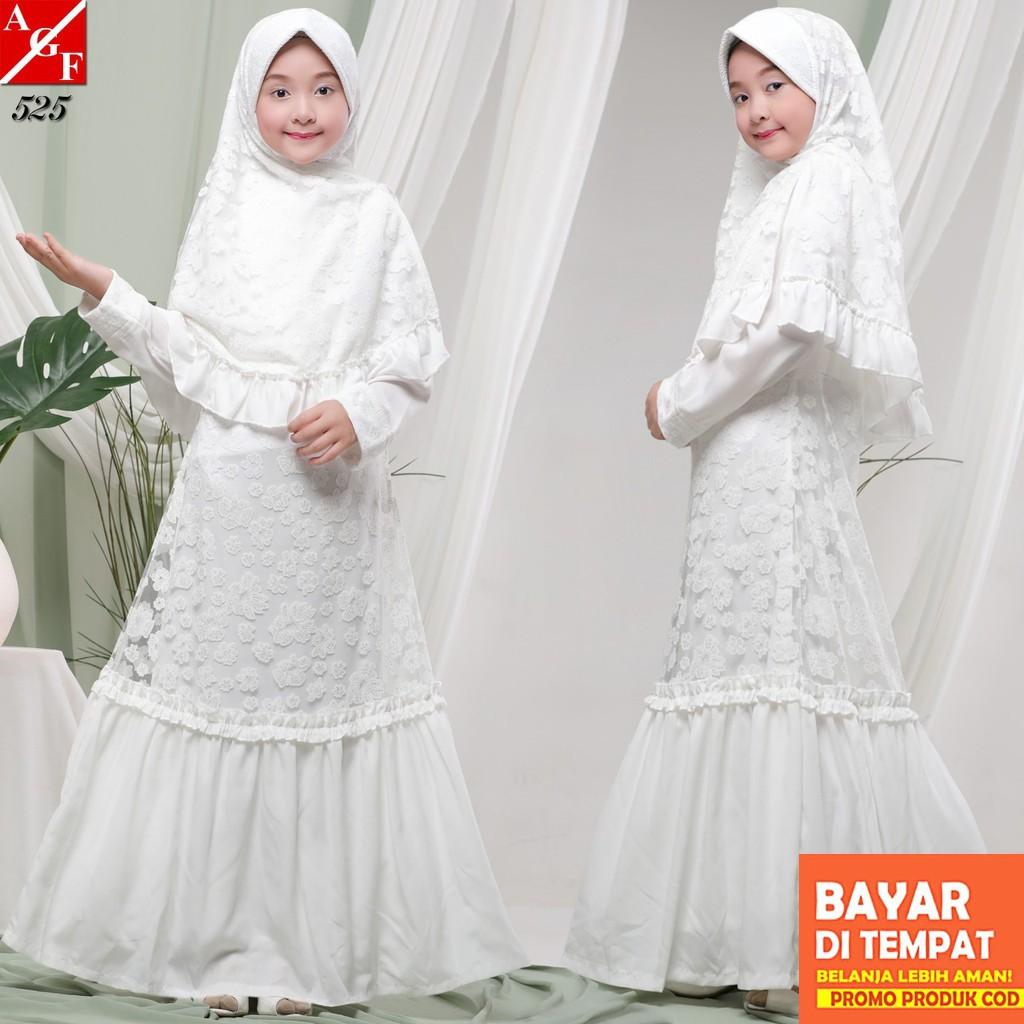 AGNES Gamis Putih Anak Perempuan Baju Muslim Baju Umroh Anak Baju Lebaran  Anak Syari Anak #8