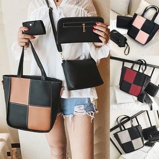 4in1 4pcs Tas Selempang Wanita Impor Kulit PU Import Dompet Women Fashion Sling Bag (030-Bags)   Shopee Indonesia