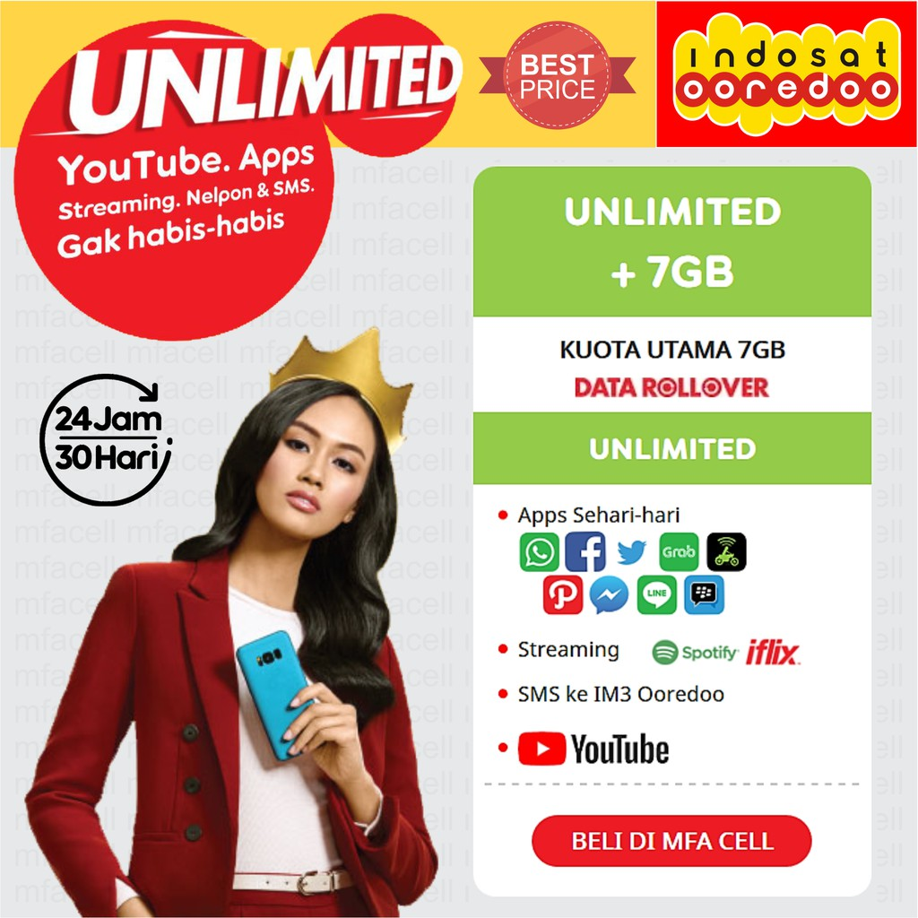 Promo Paket Data Indosat Internet Unlimited Voucher 1 Gb Apps Shopee Indonesia