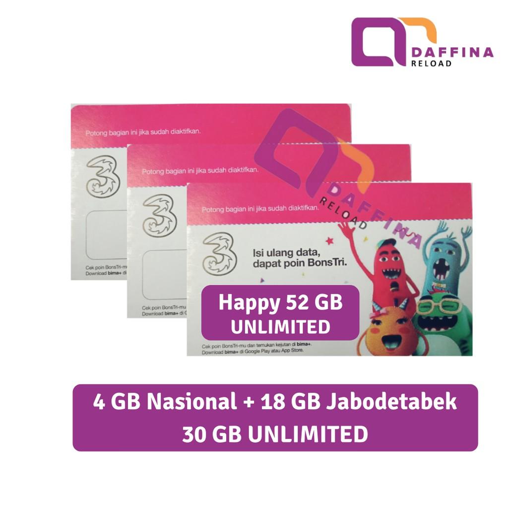 Voucher TRI Happy 52 GB Unlimited