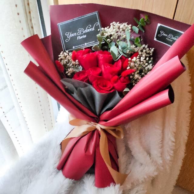 Buket Bunga Mawar Asli Ala Korea Korean Rose Bouquet Hadiah Kado Sidang Ultah Pacar Anniversary Shopee Indonesia