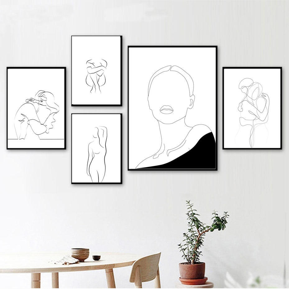 Abstract Line Drawing Love Girl Picture Wall Art Canvas Painting Nordic Poster Prints Wall Pictures Unframed Shopee Indonesia