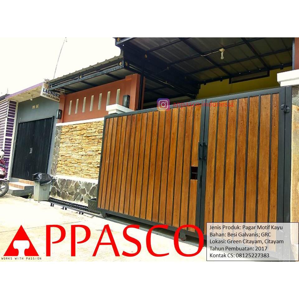 Pagar Minimalis Motif Kayu Grc Di Green Citayam Shopee Indonesia