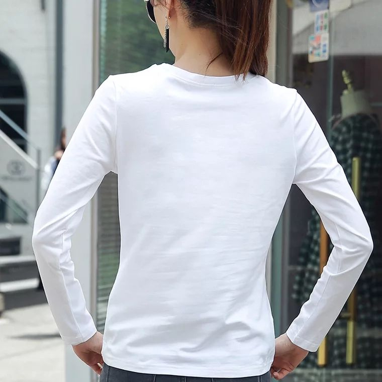Kaos T Shirt Model Longgar Lengan Panjang Warna Putih Polos Bahan Katun Murni Untuk Wanita Shopee Indonesia