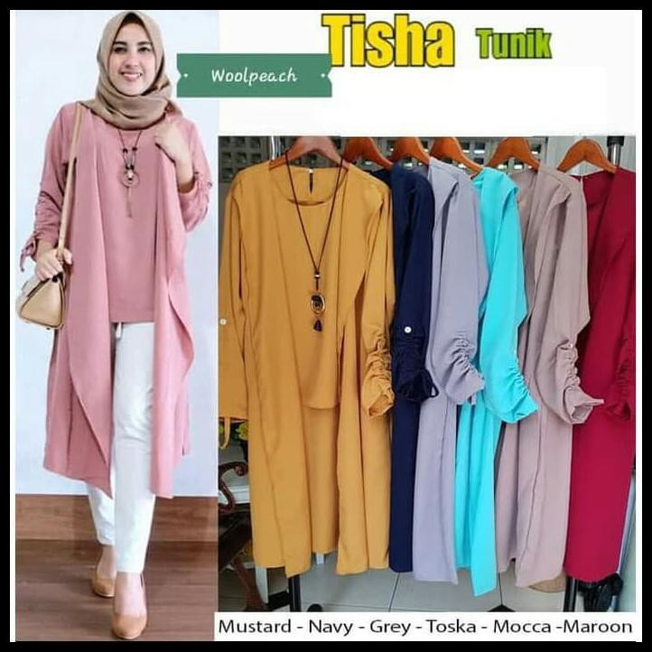 Gamis Tunik Fashion Muslim Tisha Tunik Shopee Indonesia