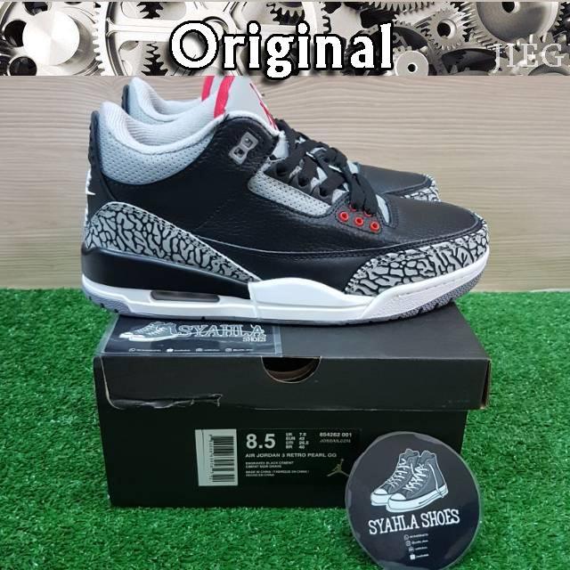 664a92bc78f Sepatu Model Nike Air Jordan 3 OG Warna Hitam Efek Cermin untuk Pria |  Shopee Indonesia