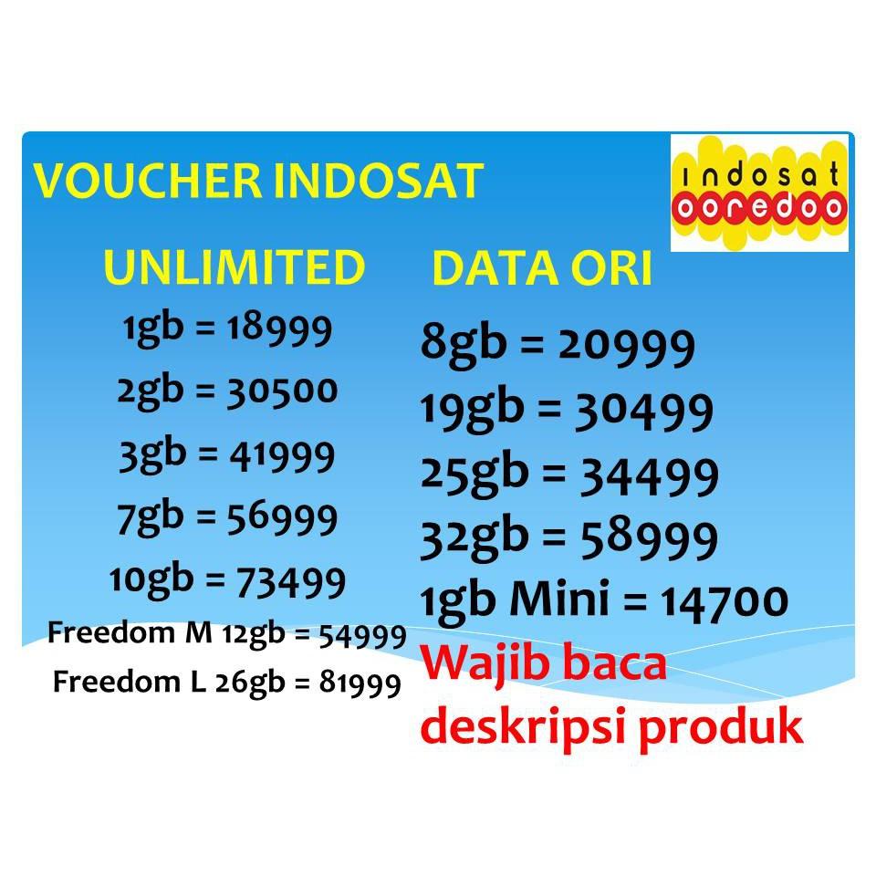 Voucher Kuota Paket Mobo Indosat Data 1gb Mini Total 4gb 2 Gb Shopee Indonesia