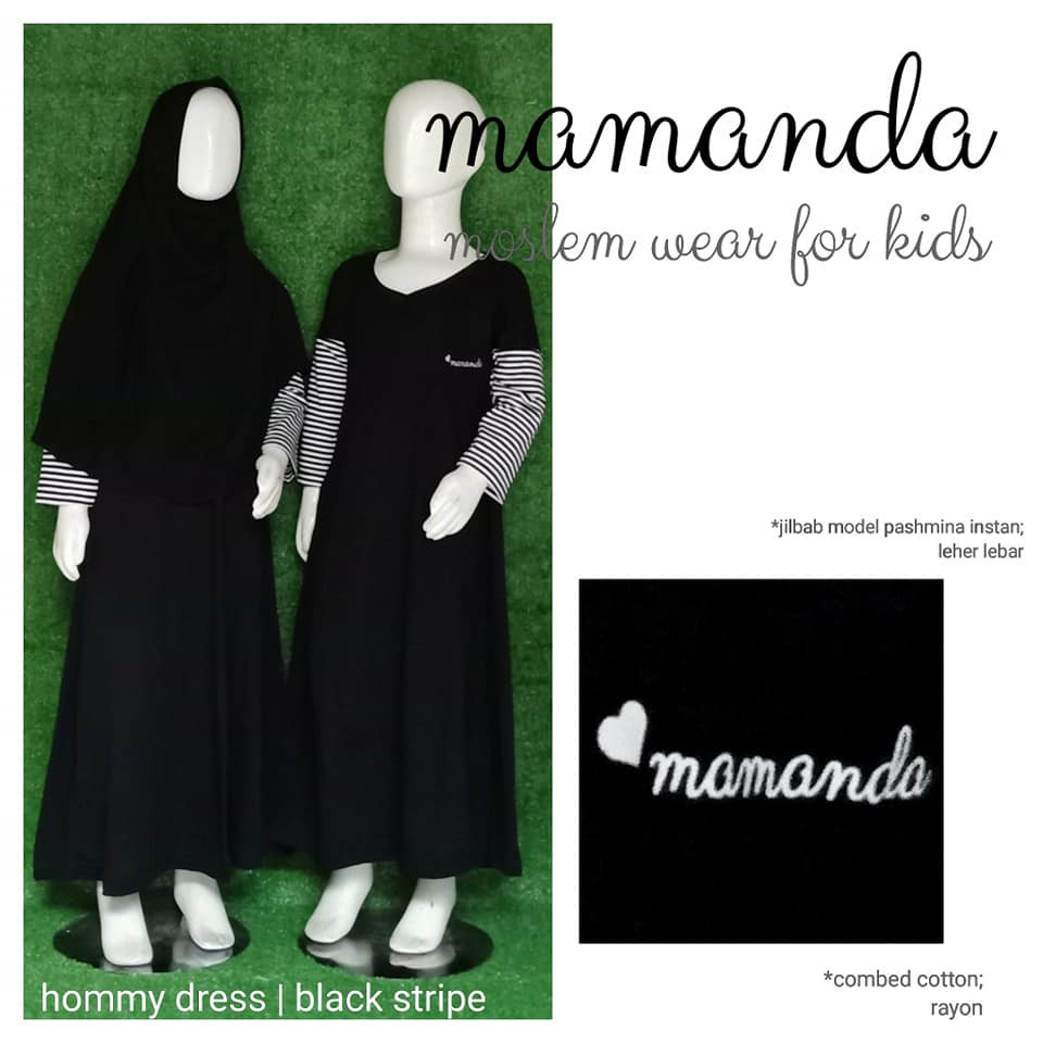 Gamis Anak Black Stripe Hommy Dress by Mamanda