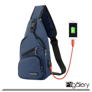 FYG-1148 Tas Selempang Pria Sling Shoulder Bag Back Pack Travel Trendy Tas MUrah Tas Import TAS USB