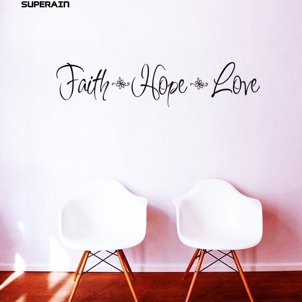 """Stiker Dinding Dengan Bahan Mudah Dilepas Gambar Tulisan """"Family Hope Love"""" Untuk Dekorasi Rumah"""