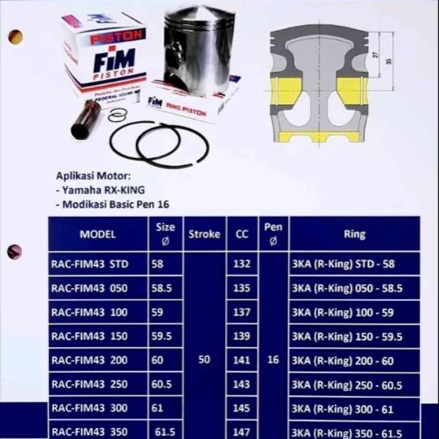 Piston Kit Fim43 Rx King Std 50 100 150 200 250 300 350 400 Pin 16 Fim Shopee Indonesia