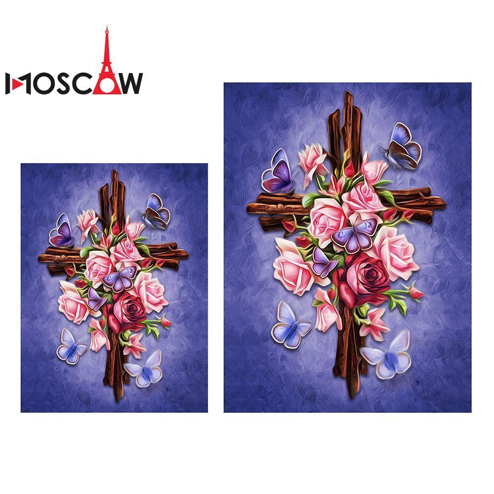 COD Lukisan Diamond 5D DIY Gambar Bunga Mawar Untuk Dekorasi Rumah