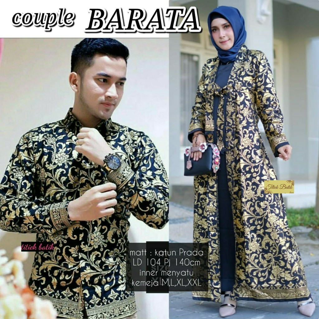 Couple chandra couple batik gamis dress + kemeja batik pria | Shopee Indonesia