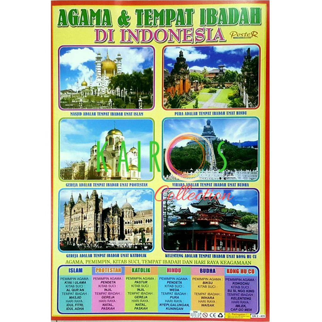 Poster Edukasi Agama Tempat Ibadah Di Indonesia