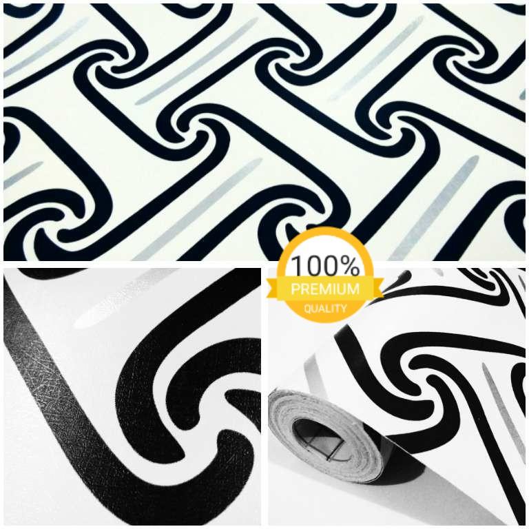 Keren Wallpaper Sticker Dinding Putih Batik Hitam Abstrak Minimalis Modern Berkualitas