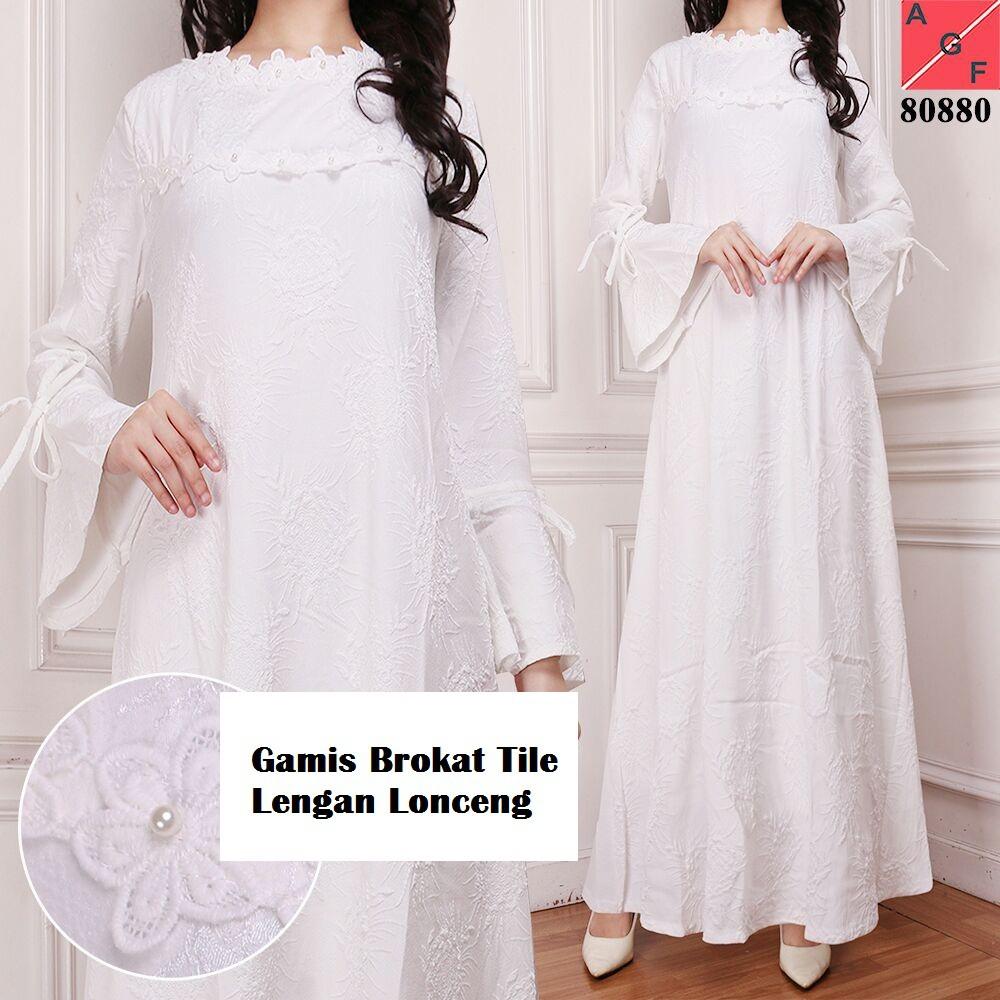Gamis putih Brokat untuk lebaran / haji