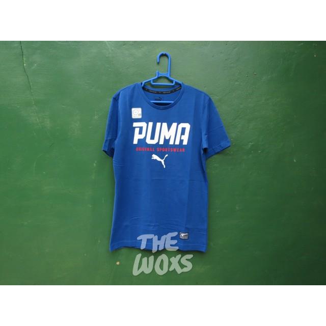 Kaos T-Shirt Original Puma Style Tee Graphic Tee Warna Biru Size XS Besar Mirip