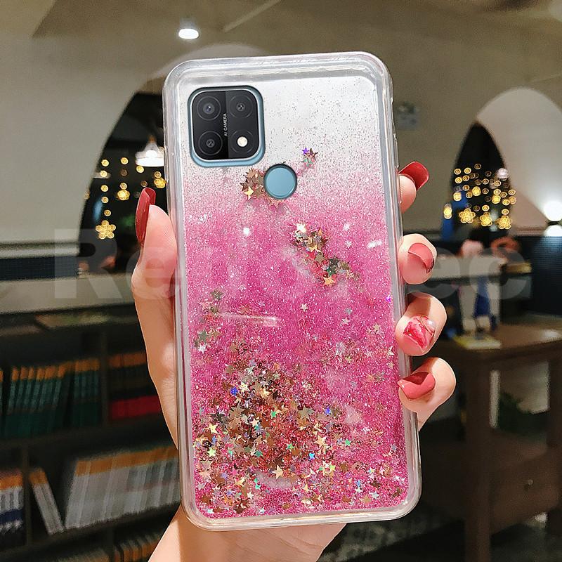 Case OPPO A15 2020 / A15S 2020 Bling Liquid Quicksand Glitter Belakang Silikon Transparan Cover