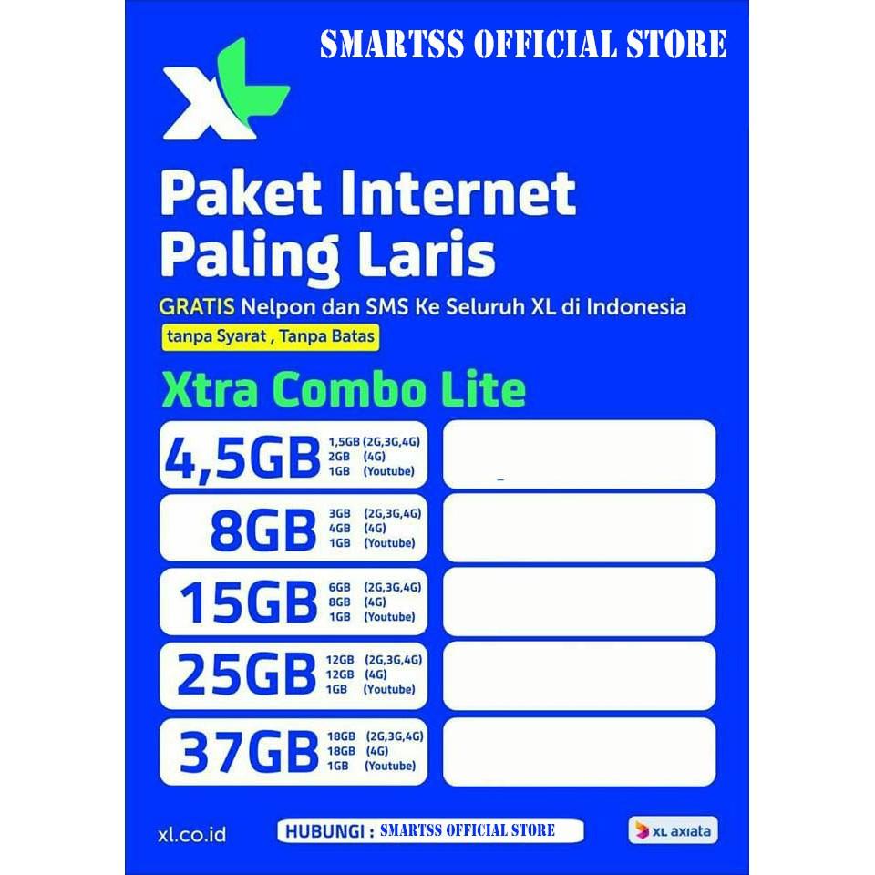 Kartu Paket Internet Murah Kuota Xl Xtra Combo Lite 15 Gb 15gb Ter Perdana 31gb 31 18 Di 3g Dan 4g 12 1 Youtube Shopee Indonesia