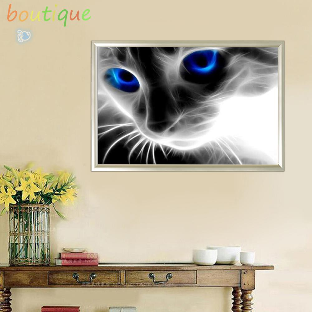 KAYI 5D Diamond Painting Cat with Butterfly Partial-drilled Rhinestone Hand Craft Painting Home Decor