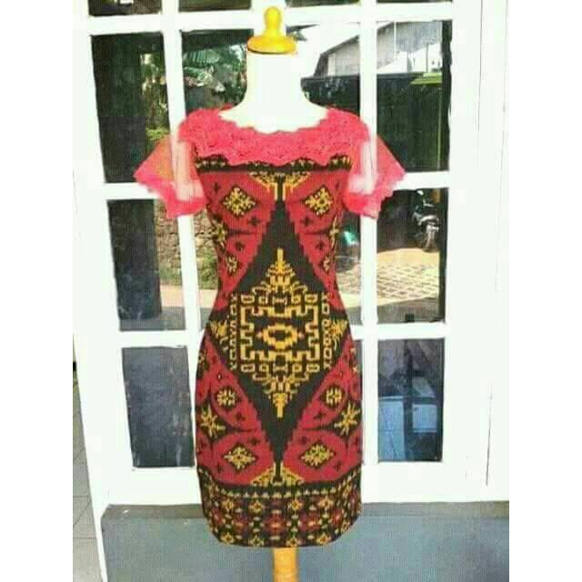 Dress Tenun Lobeng Kombinasi Brokat