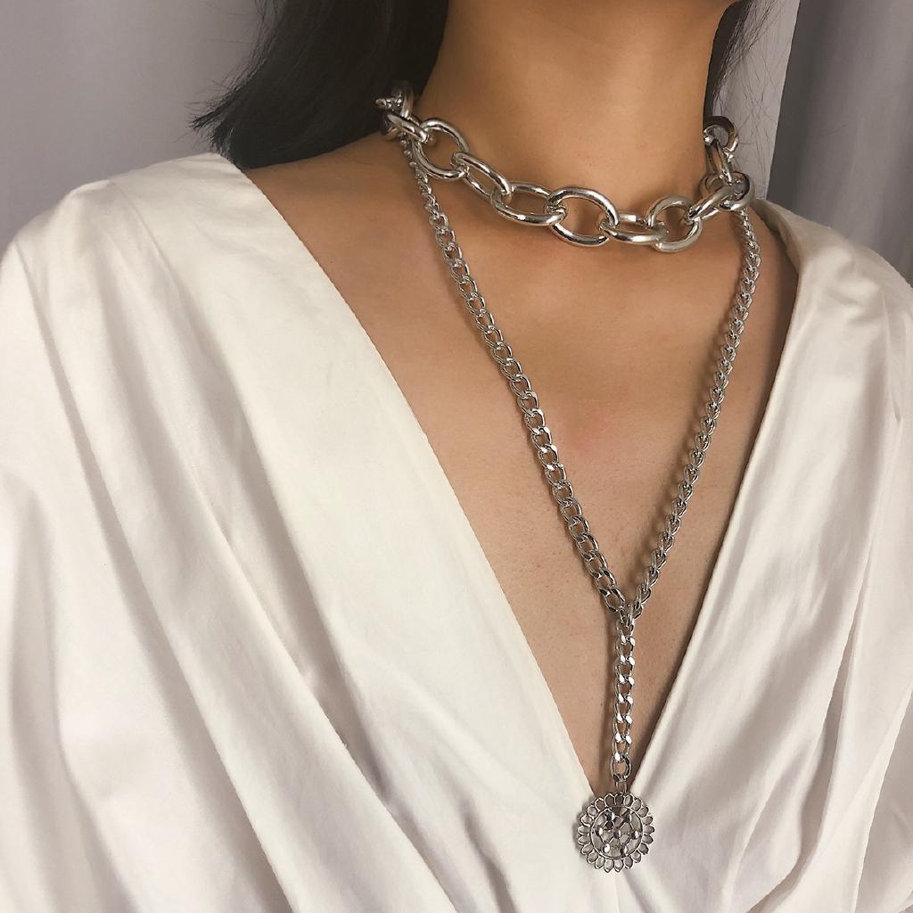Fashion Silver Gold Hollow Heart Women Bib Pendant Necklace Chain Choker Jewelry