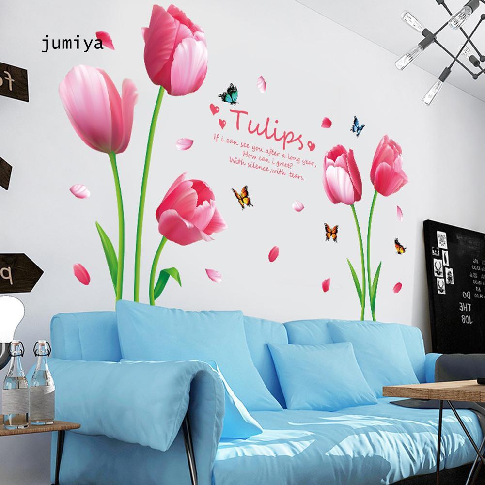 Stiker Dinding Decal Desain Bunga Tulip Untuk Dekorasi Kamar Anak Shopee Indonesia