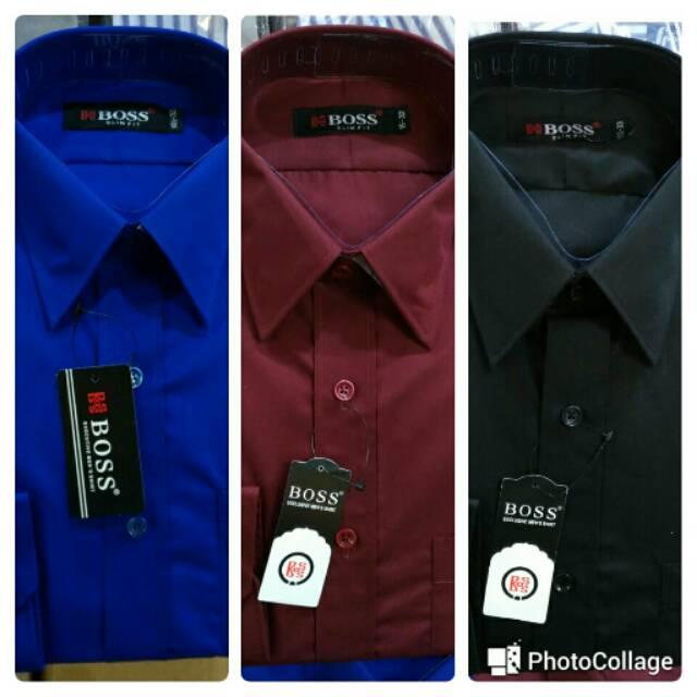 kemeja pria slim fit warna biru muda dan putih hem boston OT pakaian pria terbaru harga murah baju | Shopee Indonesia